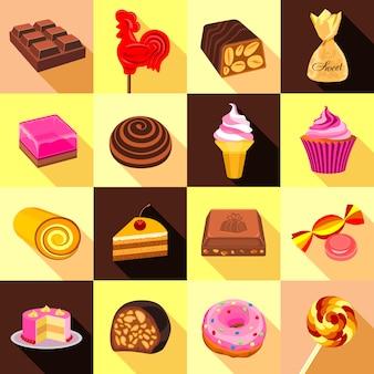 Süßigkeiten-, schokoladen- und kuchenikonen eingestellt.