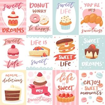 Süßigkeiten schriftzug mit süßwaren dessert