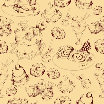 Süßigkeiten skizzieren nahtlose muster