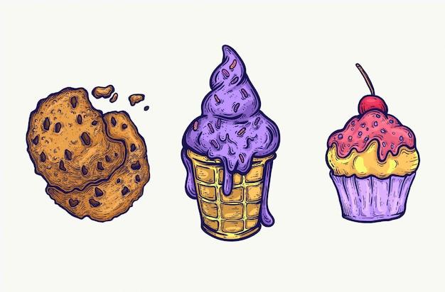 Süßigkeiten süßigkeiten hand lokalisiert gezeichnet. illustrierte köstliche lebensmittelikonen und süßigkeiten, helle zuckerhaltige leckereien. eis, cupcake, keks.