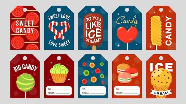 Süßigkeiten-tags gesetzt