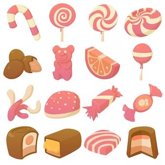 Süßigkeiten und bonbons icons set