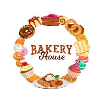Süßigkeiten und desserts vektorrahmen