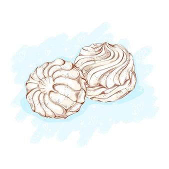 Süßigkeiten und desserts zum tee. lineare handgezeichnete skizze.