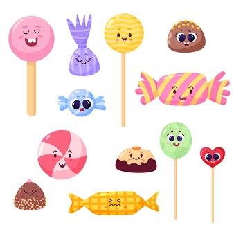 Süßigkeiten und lutscher mit süßen gesichtern