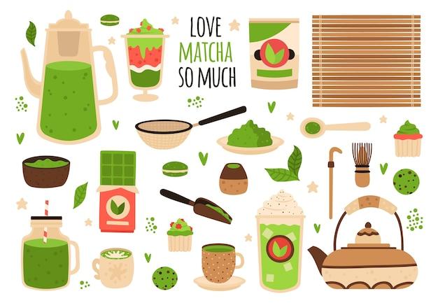 Süßigkeiten und matcha gebäck illustration