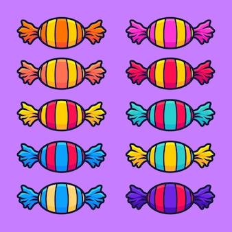 Süßigkeiten-vektor-illustration auf isoliertem objekt