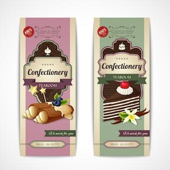 Süßigkeiten vintage banner vertikal