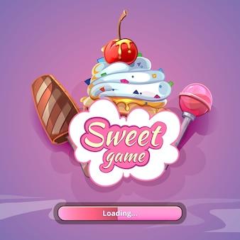 Süßigkeiten-weltspiel mit titelnamen. süße designkunst, fantastischer lutscher