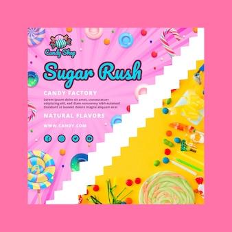 Süßigkeitenfabrik flyer vorlage