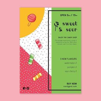 Süßigkeitenplakatschablone