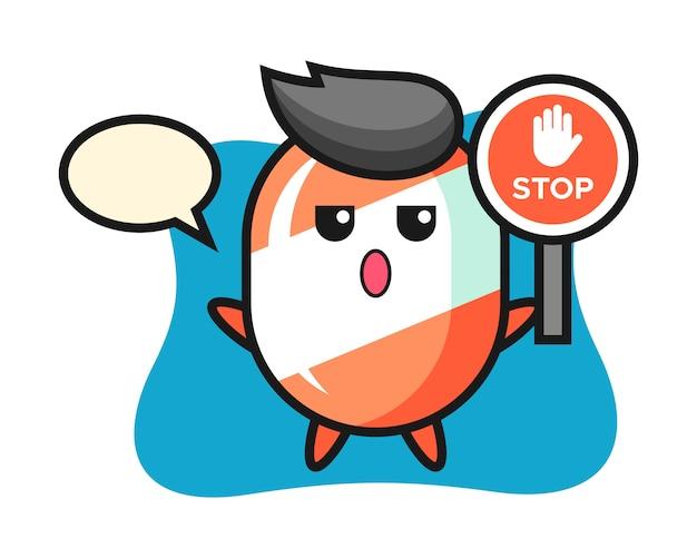 Süßigkeitscharakter-karikatur, die ein stoppschild hält