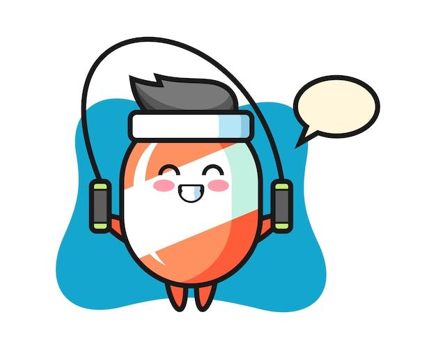 Süßigkeitscharakter-karikatur mit springseil