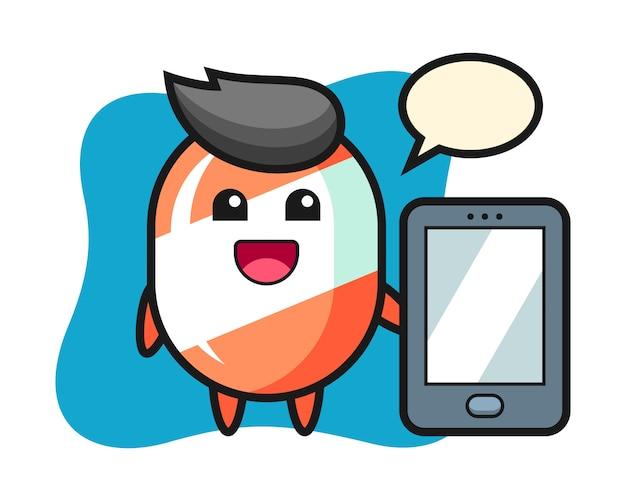 Süßigkeitsillustrationskarikatur, die ein smartphone hält