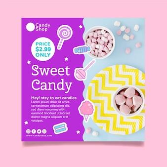 Süßigkeitsladen quadratische flyer-vorlage