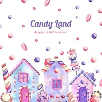 Süßigkeitslandhintergrund in der aquarellart