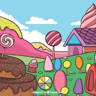 Süßigkeitslandhintergrund mit köstlichen nachtischen