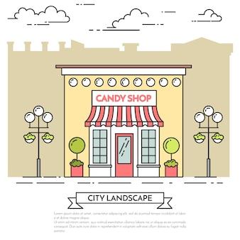 Süßigkeitsshop, café mit lampen, blumen auf stadthintergrund. vektor-illustration linie kunst.