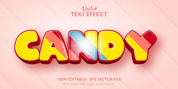 Süßigkeitstext, bearbeitbarer texteffekt im karikaturstil