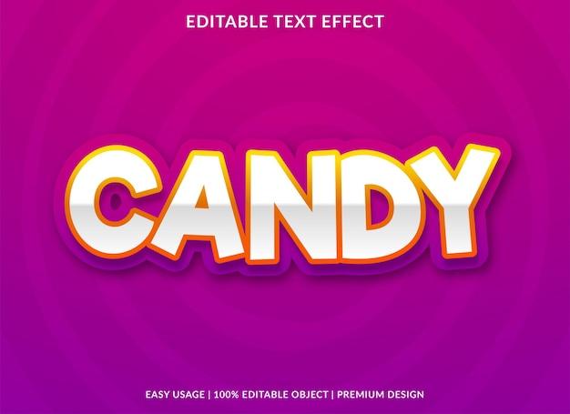 Süßigkeitstext-effekt mit fettem stilgebrauch für lebensmittelmarke