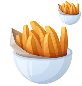 Süßkartoffelpommes detailliertes vektorsymbol isoliert auf weißem hintergrund
