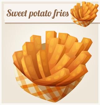 Süßkartoffelpommes im detaillierten vektorsymbol des papierkastens