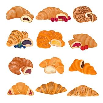 Süßspeise-gebäckbrötchen des französischen lebensmittels des hörnchens zum frühstücksillustrations-bäckereisatz des köstlichen snacks des geschmackvollen brotbagels lokalisiert auf weiß