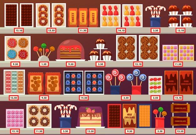 Süßwaren am stand oder im laden stehen