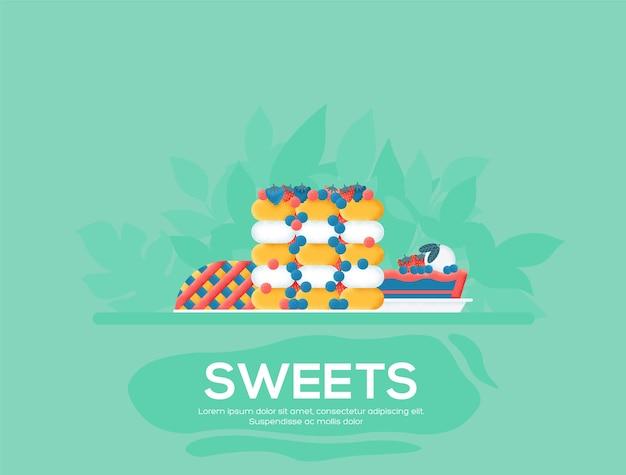 Süßwaren-flyer, zeitschriften, poster, buchcover, banner. kornstruktur und geräuscheffekt.