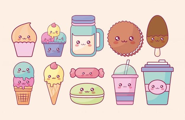 Süßwaren kawaii charaktere