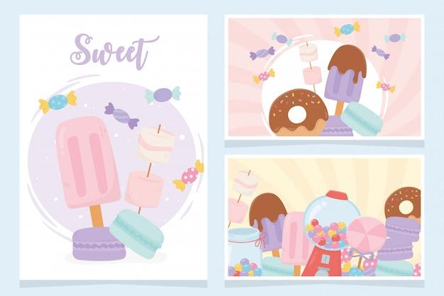 Süßwaren-süßwaren-eiscreme-plätzchen-süßigkeiten-snackkarten