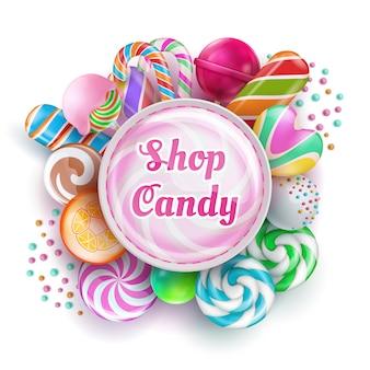 Süßwarenladen mit süßen, realistischen süßigkeiten, bonbons, karamell, regenbogenlutschern und zuckerwatte. vektor-illustration