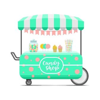 Süßwarenladen straße lebensmittelwagen. bunte illustration, niedlicher stil, lokalisiert auf weißem hintergrund