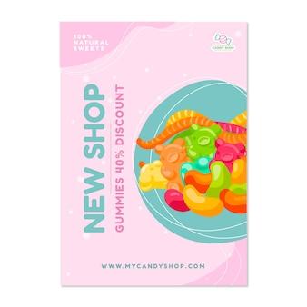 Süßwarenladenplakat mit süßigkeiten