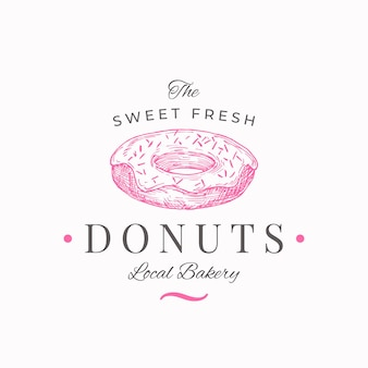 Süßwarenlogoschablone handgezeichneter süßer donut und typografie lokale bäckerei