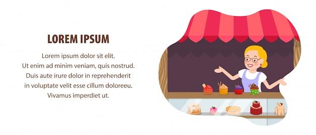 Süßwarenverkauf flat web banner vector template