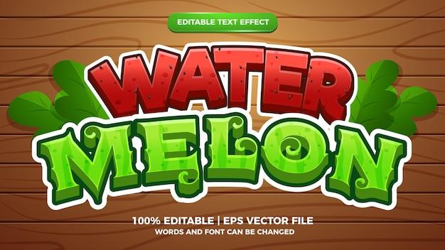 Süßwassermelone bearbeitbarer texteffekt 3d-cartoon-stil