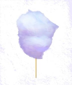 Sugar wadding auf glasschlacke, zuckerwatte-aufkleber-vektor
