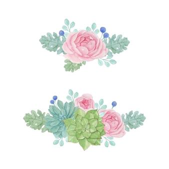 Sukkulente und florale anordnung