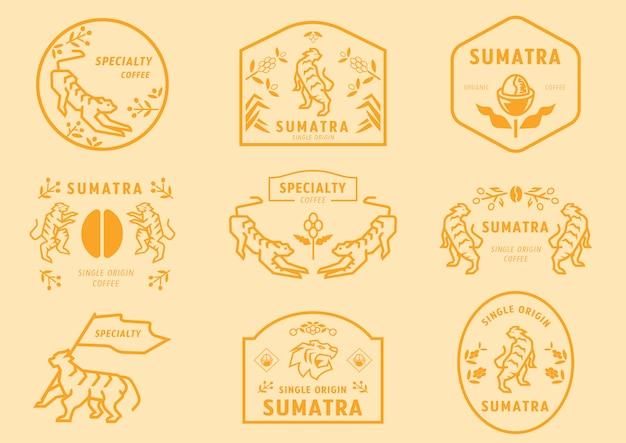 Sumatra kaffee logo abzeichen mit tiger