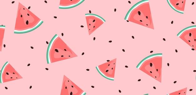Summer flat seamless pattern mit wassermelonemelo