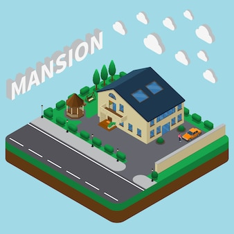 Summer mansion isometric