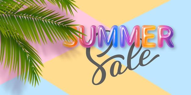 Summer sale banner mit bunten 3d-buchstaben