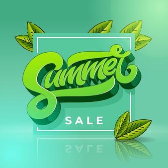 Summer sale banner mit quadratischem rahmen und blättern