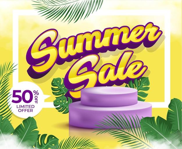 Summer sale banner mit realistischem 3d-podium