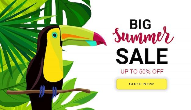 Summer sale banner mit tropischen blättern und rosa flamingo. handschrifttext. saisonurlaub, wochenende, feiertagslogo.