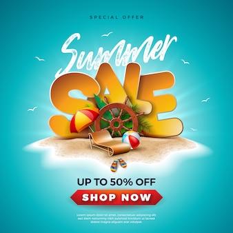 Summer sale design mit schiffslenkrad und exotischen palmblättern