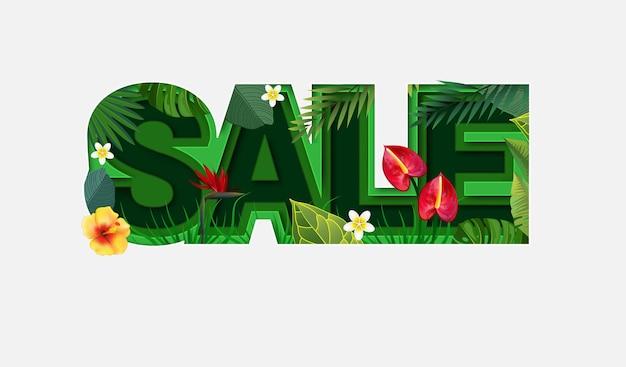 Summer sale design mit tropischen blättern auf weiß