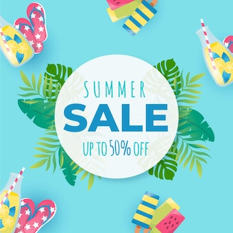 Summer sale flat design 50% rabatt