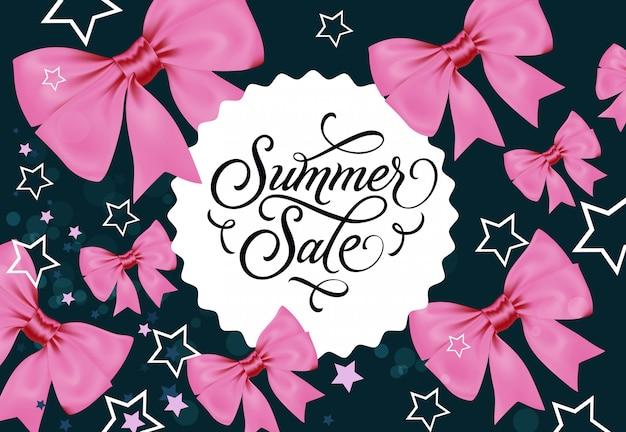 Summer sale label auf dunkelblauem hintergrund